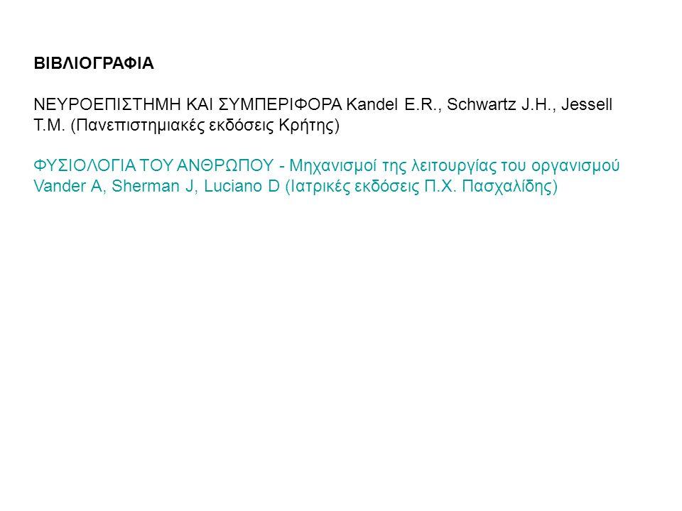 ΒΙΒΛΙΟΓΡΑΦΙΑ ΝΕΥΡΟΕΠΙΣΤΗΜΗ ΚΑΙ ΣΥΜΠΕΡΙΦΟΡΑ Kandel E.R., Schwartz J.H., Jessell T.M. (Πανεπιστημιακές εκδόσεις Κρήτης)