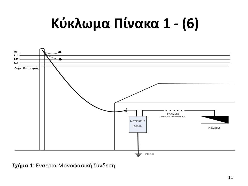 Κύκλωμα Πίνακα 1 - (6) Σχήμα 1: Εναέρια Μονοφασική Σύνδεση
