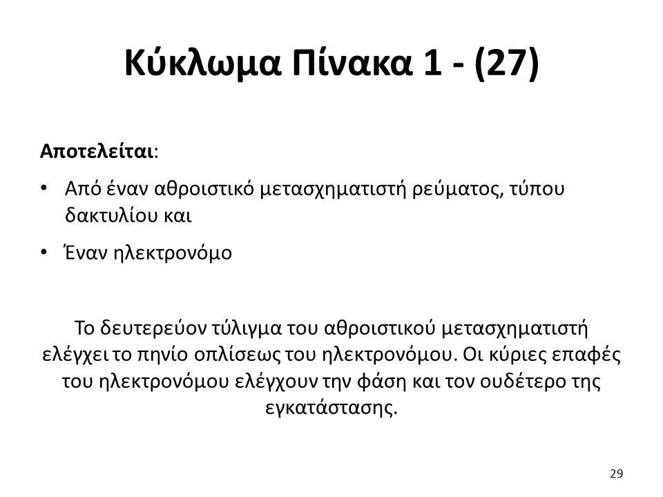 Κύκλωμα Πίνακα 1 - (27) Αποτελείται: