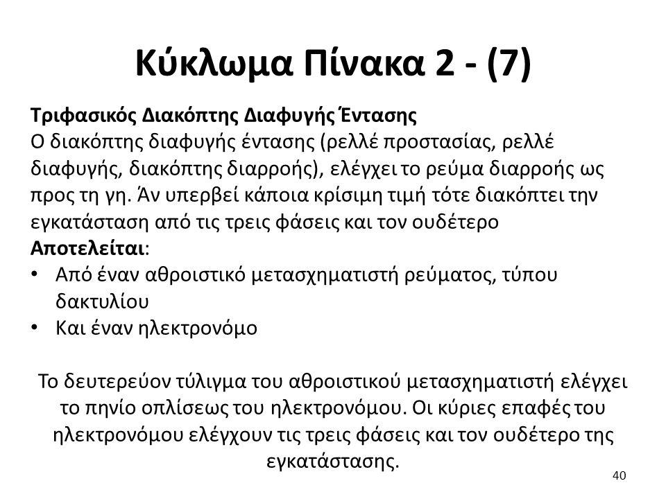 Κύκλωμα Πίνακα 2 - (7) Τριφασικός Διακόπτης Διαφυγής Έντασης