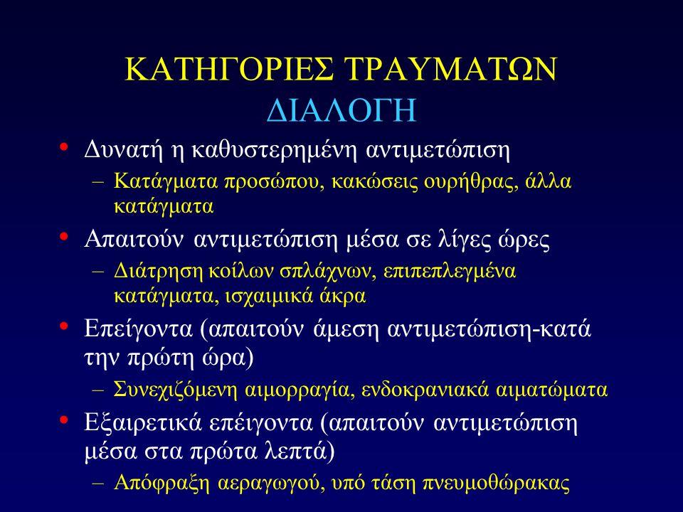 ΚΑΤΗΓΟΡΙΕΣ ΤΡΑΥΜΑΤΩΝ ΔΙΑΛΟΓΗ