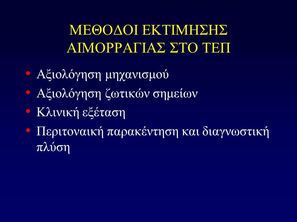 ΜΕΘΟΔΟΙ ΕΚΤΙΜΗΣΗΣ ΑΙΜΟΡΡΑΓΙΑΣ ΣΤΟ ΤΕΠ