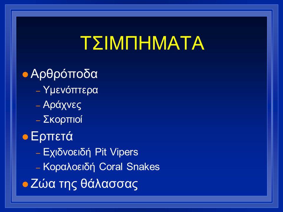 ΤΣΙΜΠΗΜΑΤΑ Αρθρόποδα Ερπετά Ζώα της θάλασσας Υμενόπτερα Αράχνες