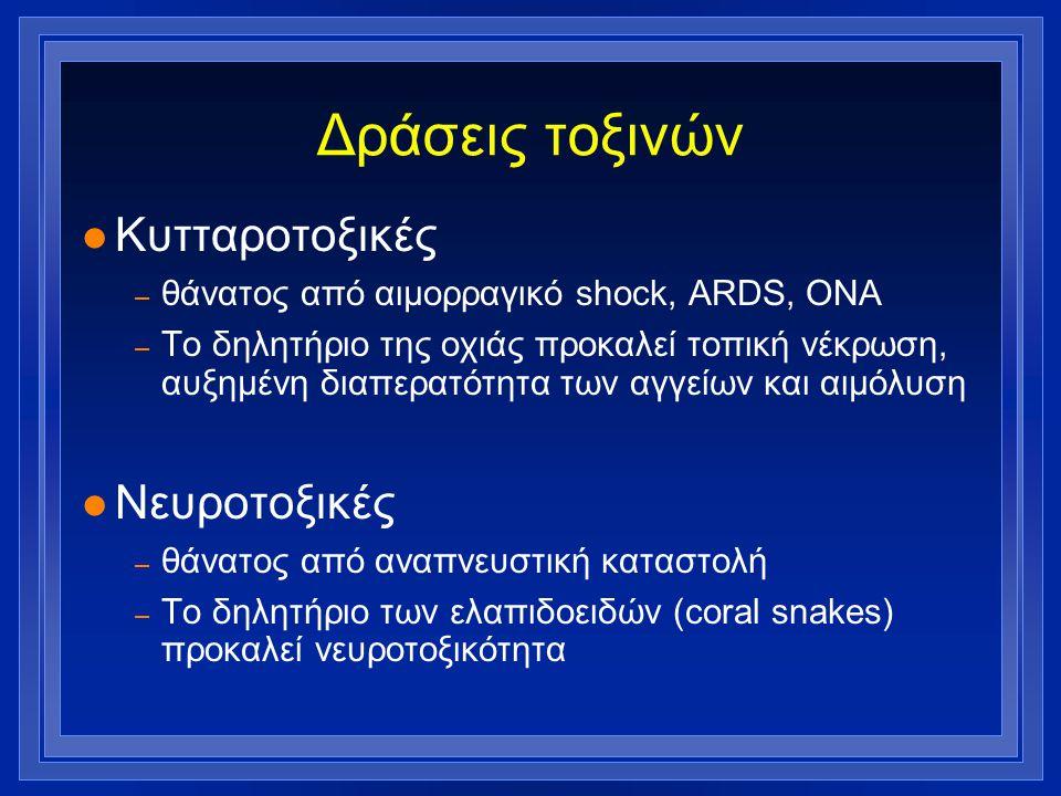 Δράσεις τοξινών Κυτταροτοξικές Νευροτοξικές