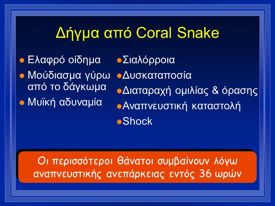 Δήγμα από Coral Snake Ελαφρό οίδημα Μούδιασμα γύρω από το δάγκωμα