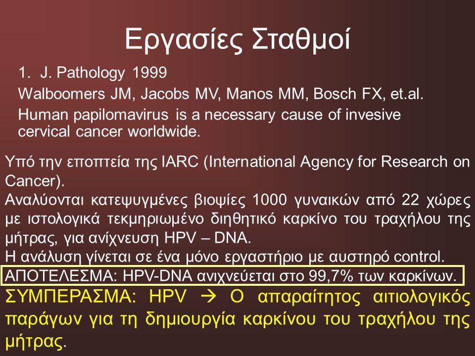 Εργασίες Σταθμοί J. Pathology 1999. Walboomers JM, Jacobs MV, Manos MM, Bosch FX, et.al.