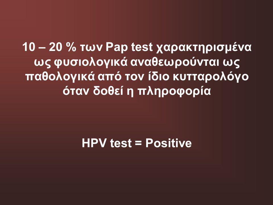10 – 20 % των Pap test χαρακτηρισμένα ως φυσιολογικά αναθεωρούνται ως παθολογικά από τον ίδιο κυτταρολόγο όταν δοθεί η πληροφορία