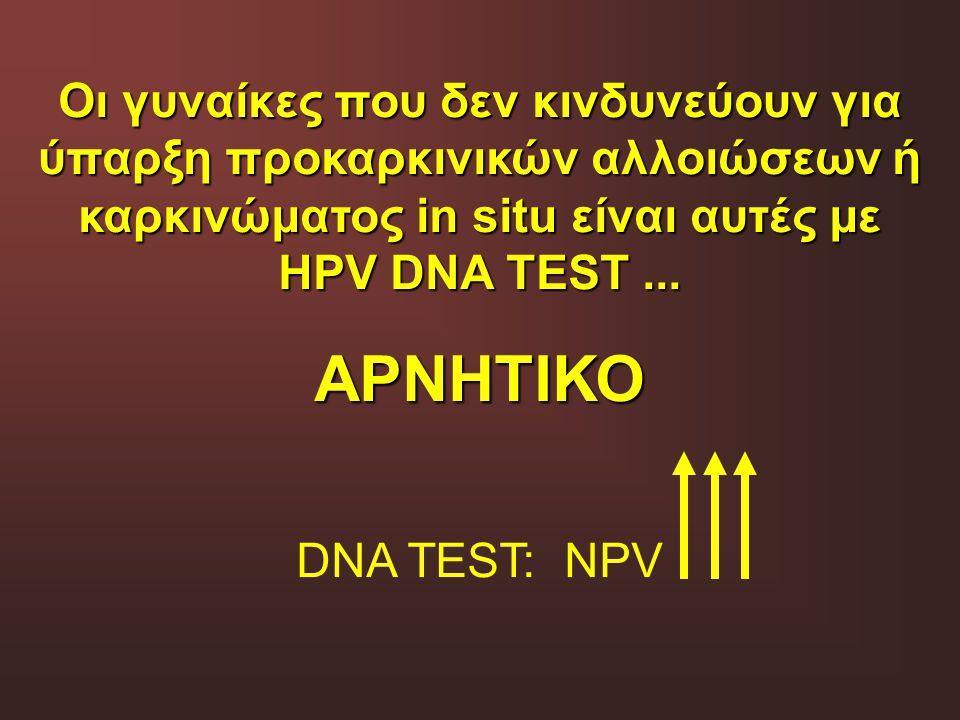 Οι γυναίκες που δεν κινδυνεύουν για ύπαρξη προκαρκινικών αλλοιώσεων ή καρκινώματος in situ είναι αυτές με HPV DNA TEST ...
