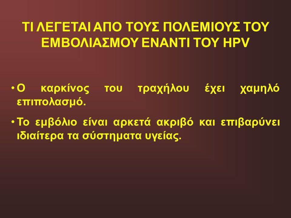 ΤΙ ΛΕΓΕΤΑΙ ΑΠΟ ΤΟΥΣ ΠΟΛΕΜΙΟΥΣ ΤΟΥ ΕΜΒΟΛΙΑΣΜΟΥ ΕΝΑΝΤΙ ΤΟΥ HPV