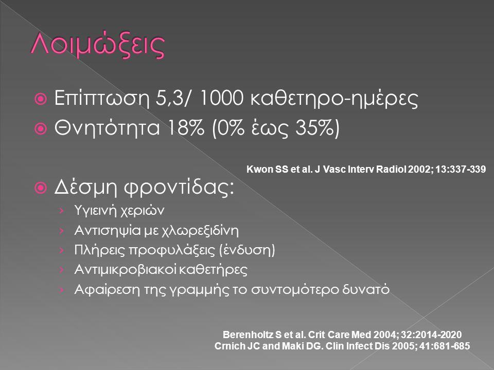 Λοιμώξεις Επίπτωση 5,3/ 1000 καθετηρο-ημέρες