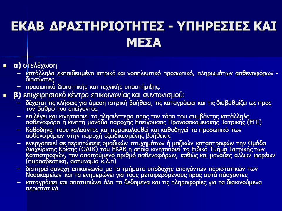 ΕΚΑΒ ΔΡΑΣΤΗΡΙΟΤΗΤΕΣ - ΥΠΗΡΕΣΙΕΣ ΚΑΙ ΜΕΣΑ