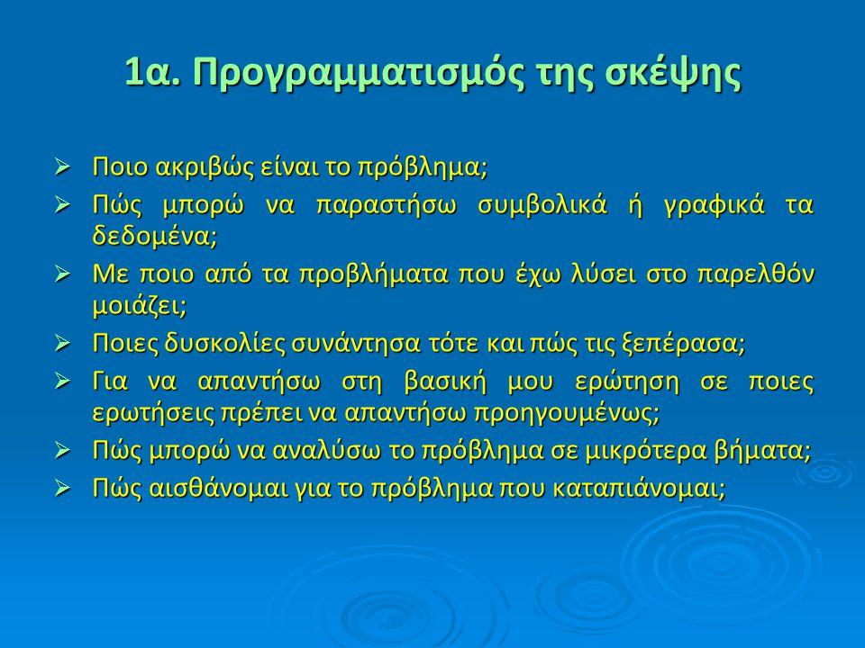 1α. Προγραμματισμός της σκέψης