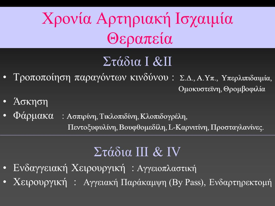 Χρονία Αρτηριακή Ισχαιμία Θεραπεία
