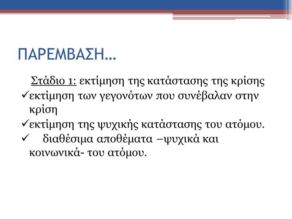 Στάδιο 1: εκτίμηση της κατάστασης της κρίσης