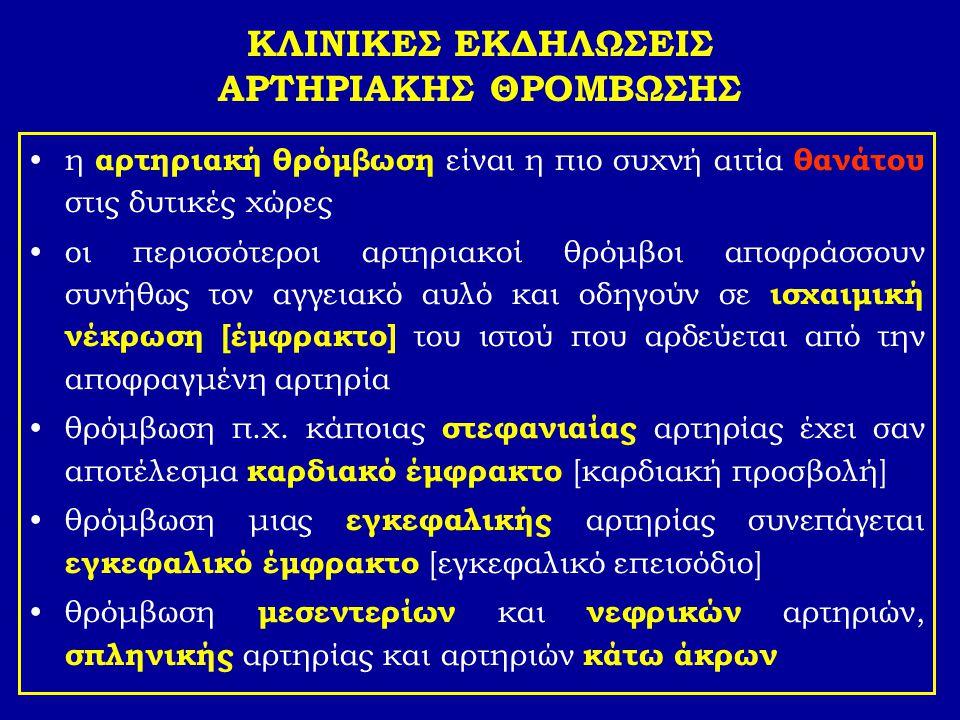 ΚΛΙΝΙΚΕΣ ΕΚΔΗΛΩΣΕΙΣ ΑΡΤΗΡΙΑΚΗΣ ΘΡΟΜΒΩΣΗΣ