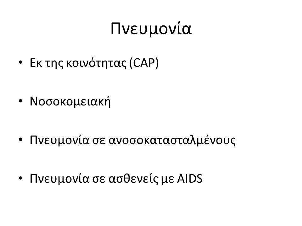 Πνευμονία Εκ της κοινότητας (CAP) Νοσοκομειακή