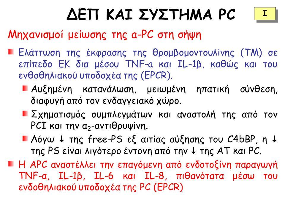 ΔΕΠ ΚΑΙ ΣΥΣΤΗΜΑ PC Μηχανισμοί μείωσης της a-PC στη σήψη