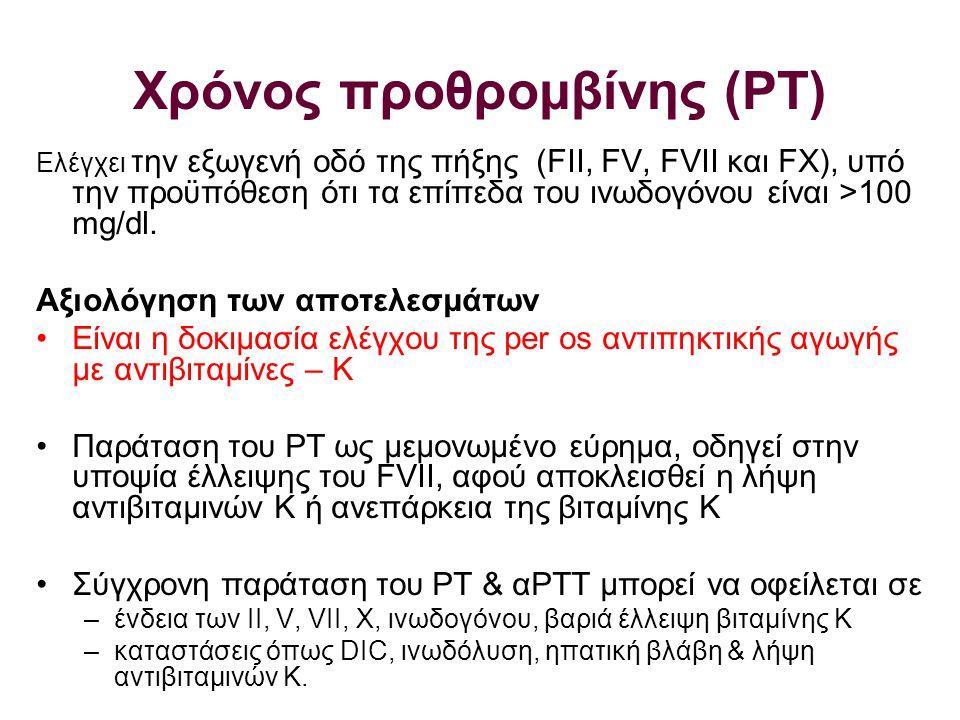 Χρόνος προθρομβίνης (ΡΤ)