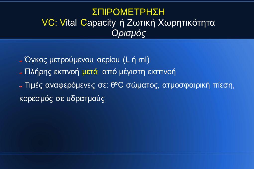 VC: Vital Capacity ή Ζωτική Χωρητικότητα
