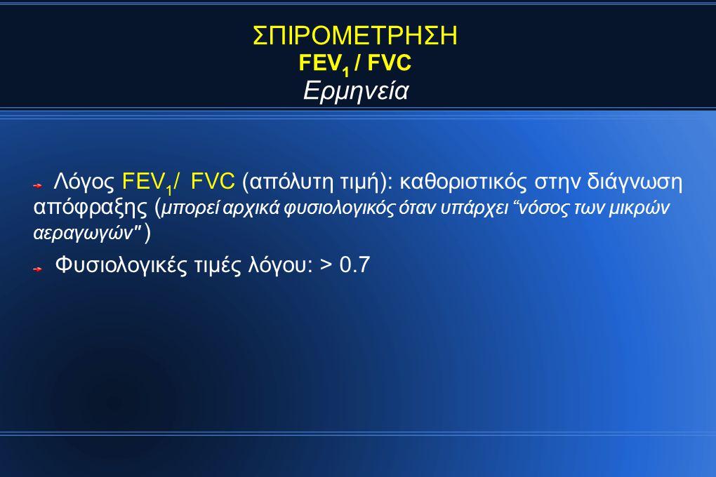 ΣΠΙΡΟΜΕΤΡΗΣΗ Ερμηνεία FEV1 / FVC