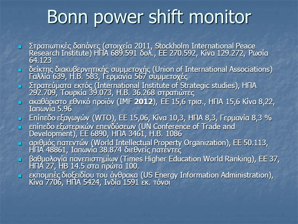 Bonn power shift monitor