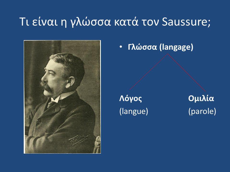 Τι είναι η γλώσσα κατά τον Saussure;