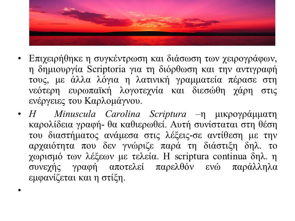 Επιχειρήθηκε η συγκέντρωση και διάσωση των χειρογράφων, η δημιουργία Scriptoria για τη διόρθωση και την αντιγραφή τους, με άλλα λόγια η λατινική γραμματεία πέρασε στη νεότερη ευρωπαϊκή λογοτεχνία και διεσώθη χάρη στις ενέργειες του Καρλομάγνου.