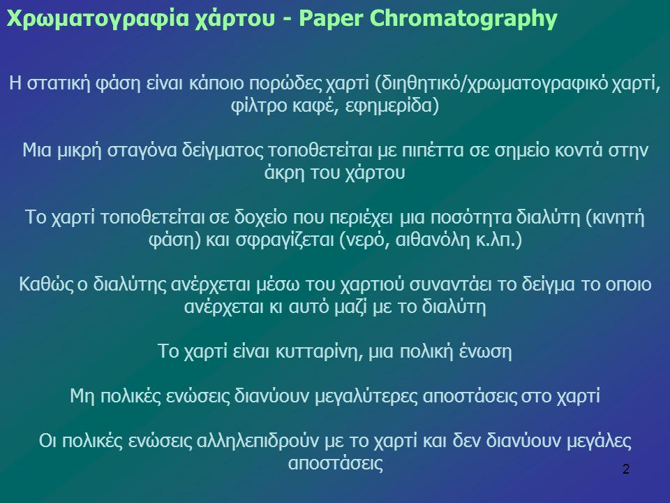 Χρωματογραφία χάρτου - Paper Chromatography