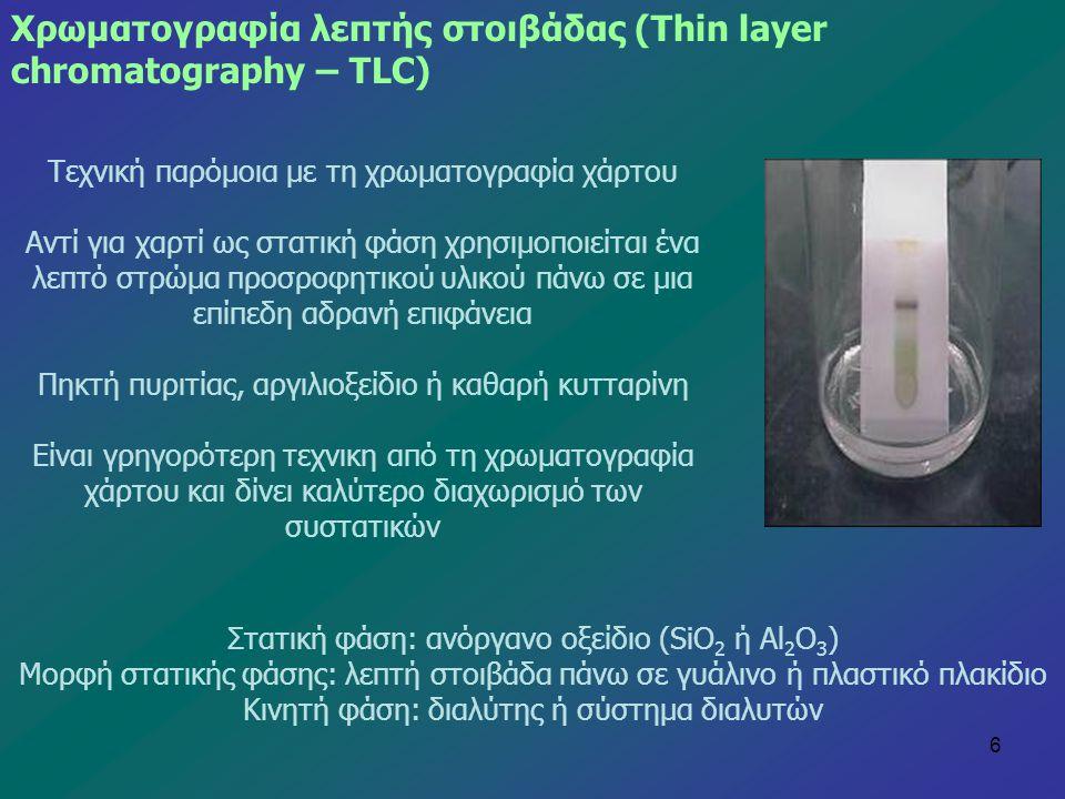 Χρωματογραφία λεπτής στοιβάδας (Thin layer chromatography – ΤLC)