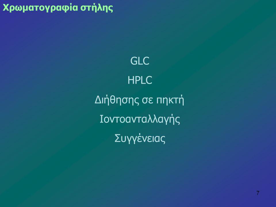GLC HPLC Διήθησης σε πηκτή Ιοντοανταλλαγής Συγγένειας