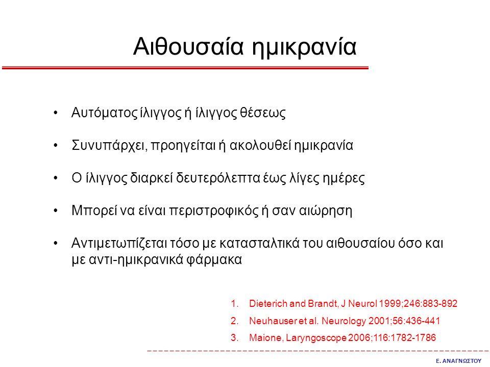 Αιθουσαία ημικρανία Αυτόματος ίλιγγος ή ίλιγγος θέσεως