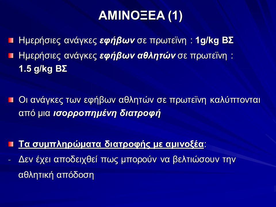 ΑΜΙΝΟΞΕΑ (1) Ημερήσιες ανάγκες εφήβων σε πρωτεϊνη : 1g/kg ΒΣ