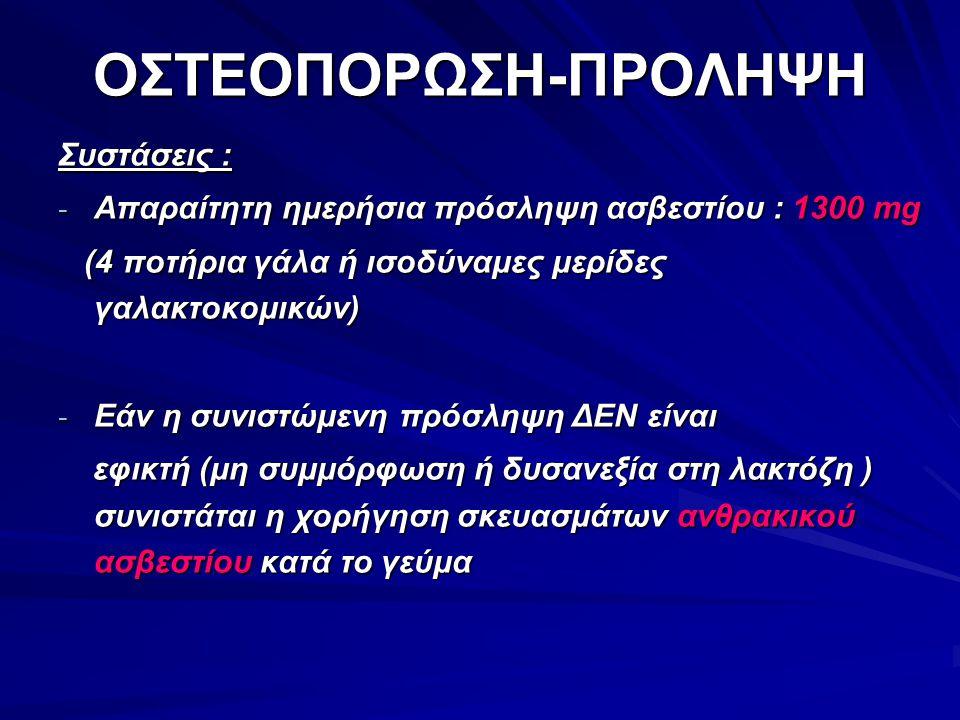 ΟΣΤΕΟΠΟΡΩΣΗ-ΠΡΟΛΗΨΗ Συστάσεις :