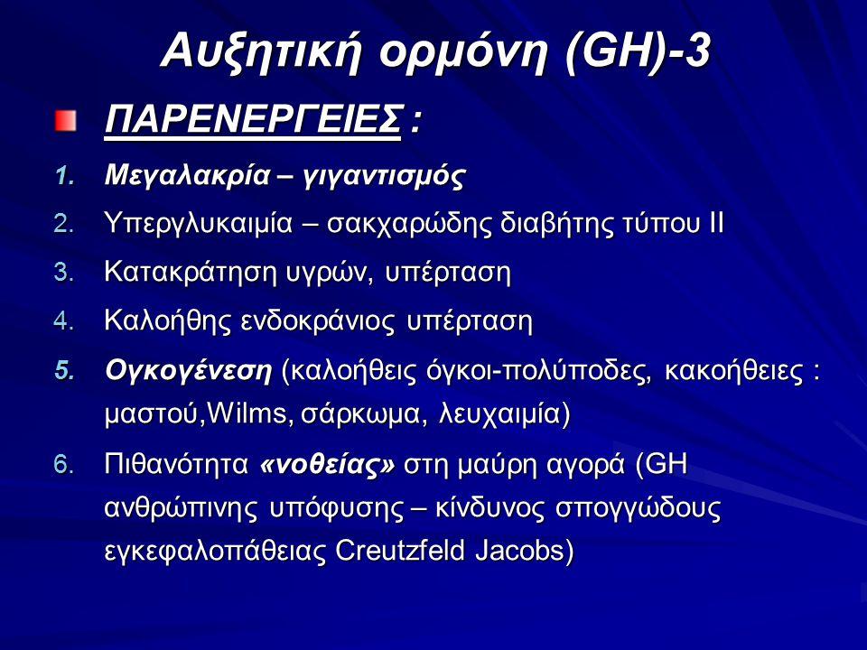 Αυξητική ορμόνη (GH)-3 ΠΑΡΕΝΕΡΓΕΙΕΣ : Μεγαλακρία – γιγαντισμός