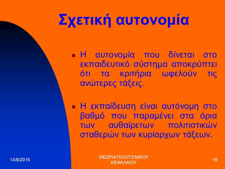 ΘΕΩΡΙΑ ΠΟΛΙΤΙΣΜΙΚΟΥ ΚΕΦΑΛΑΙΟΥ