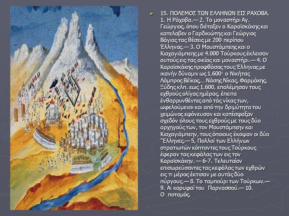 15. ΠΟΛΕΜΟΣ ΤΩΝ ΕΛΛΗΝΩΝ ΕΙΣ ΡΑΧΟΒΑ. 1. Η Ράχοβα. — 2. Το μοναστήρι Αγ