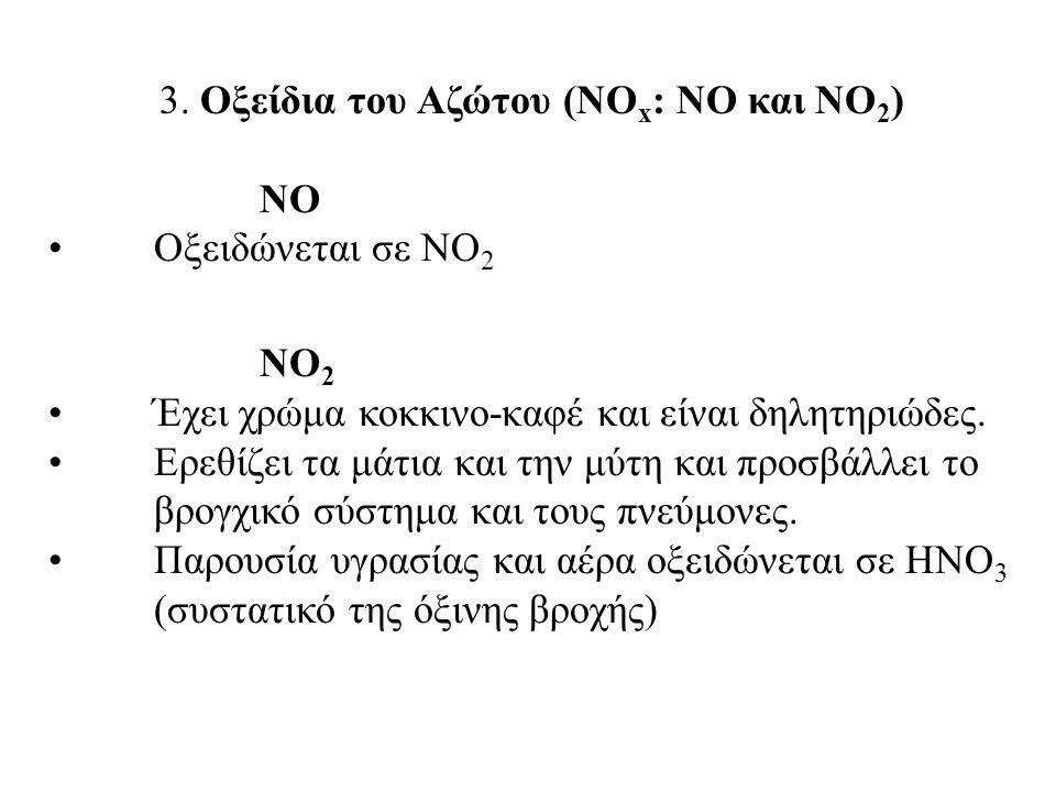3. Οξείδια του Αζώτου (ΝΟx: NO και ΝΟ2)
