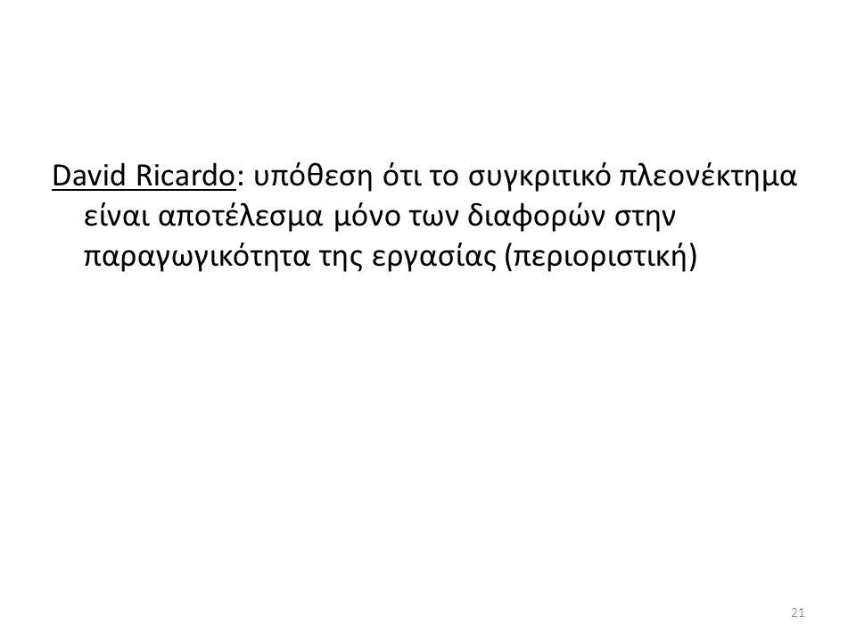 David Ricardo: υπόθεση ότι το συγκριτικό πλεονέκτημα είναι αποτέλεσμα μόνο των διαφορών στην παραγωγικότητα της εργασίας (περιοριστική)