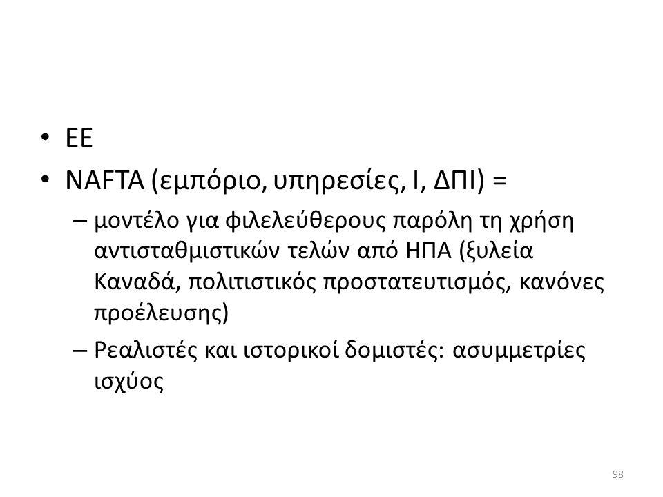 NAFTA (εμπόριο, υπηρεσίες, Ι, ΔΠΙ) =