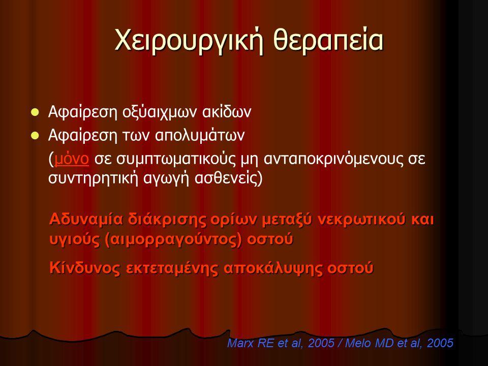 Marx RE et al, 2005 / Melo MD et al, 2005
