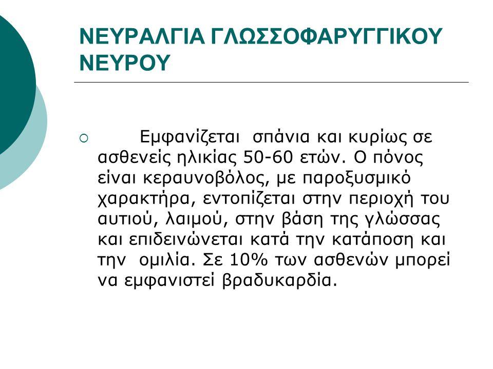 ΝΕΥΡΑΛΓΙΑ ΓΛΩΣΣΟΦΑΡΥΓΓΙΚΟΥ ΝΕΥΡΟΥ