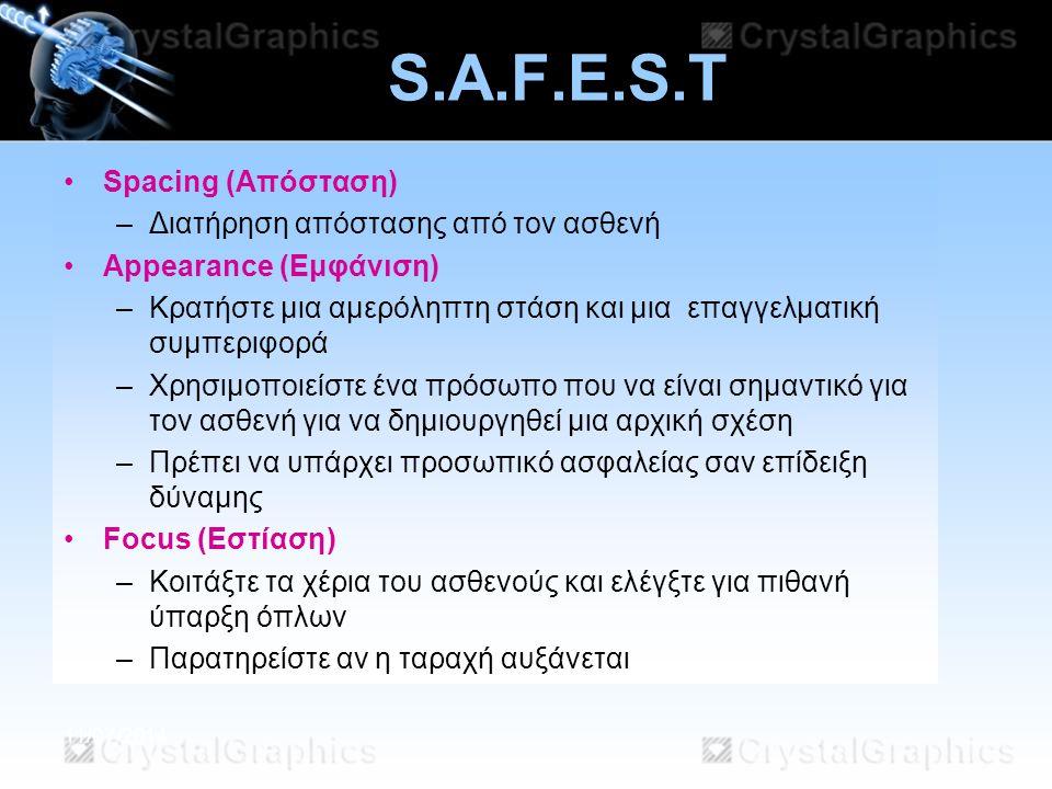 S.A.F.E.S.T Spacing (Απόσταση) Διατήρηση απόστασης από τον ασθενή