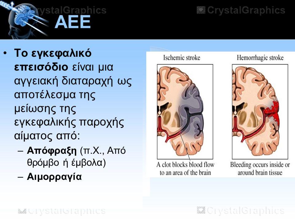 AEE Το εγκεφαλικό επεισόδιο είναι μια αγγειακή διαταραχή ως αποτέλεσμα της μείωσης της εγκεφαλικής παροχής αίματος από: