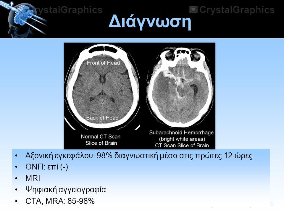 Διάγνωση Αξονική εγκεφάλου: 98% διαγνωστική μέσα στις πρώτες 12 ώρες