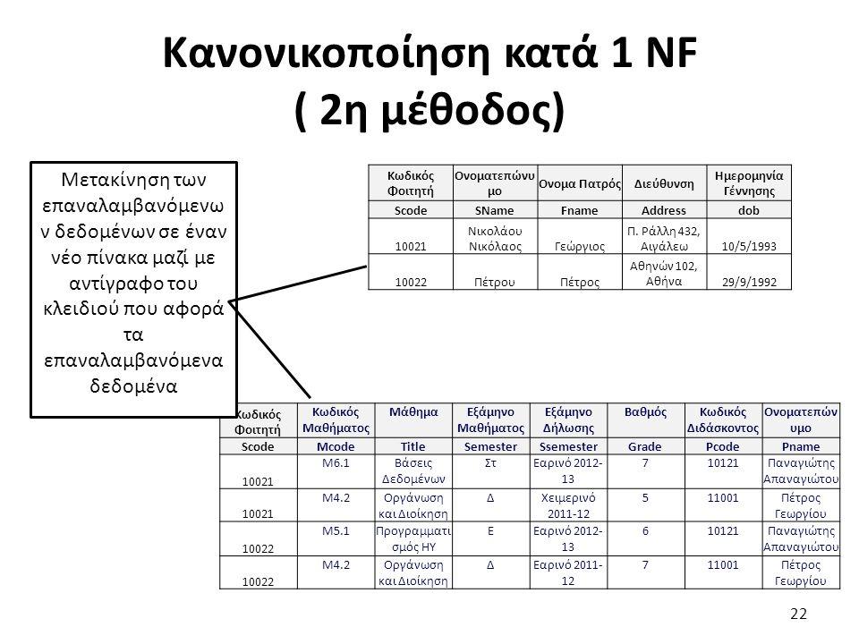 Κανονικοποίηση κατά 1 ΝF ( 2η μέθοδος)