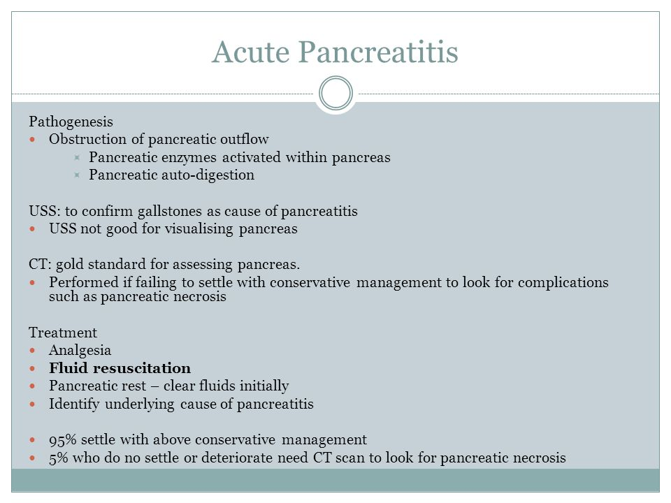 Acute Pancreatitis Pathogenesis Obstruction of pancreatic outflow