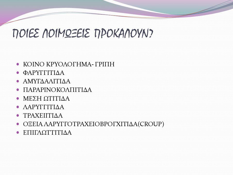 ΠΟΙΕΣ ΛΟΙΜΩΞΕΙΣ ΠΡΟΚΑΛΟΥΝ