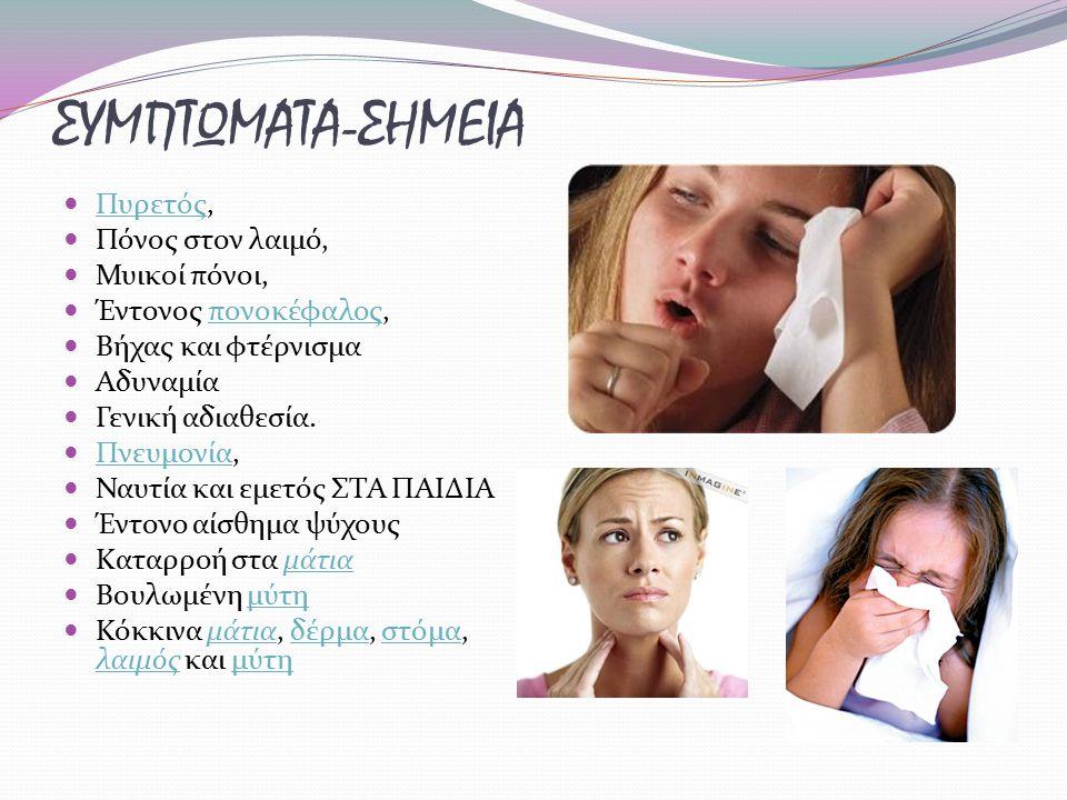 ΣΥΜΠΤΩΜΑΤΑ-ΣΗΜΕΙΑ Πυρετός, Πόνος στον λαιμό, Μυικοί πόνοι,
