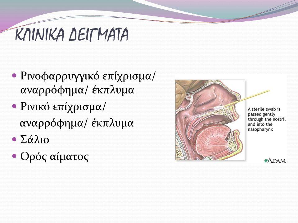 ΚΛΙΝΙΚΑ ΔΕΙΓΜΑΤΑ Ρινοφαρρυγγικό επίχρισμα/ αναρρόφημα/ έκπλυμα