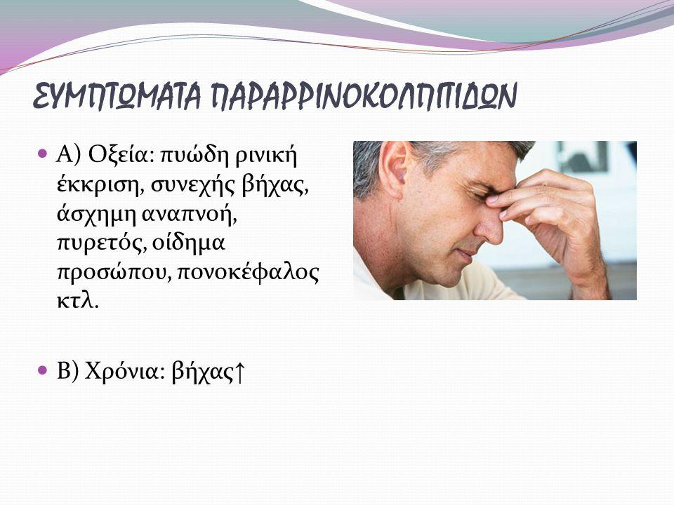ΣΥΜΠΤΩΜΑΤΑ ΠΑΡΑΡΡΙΝΟΚΟΛΠΙΤΙΔΩΝ